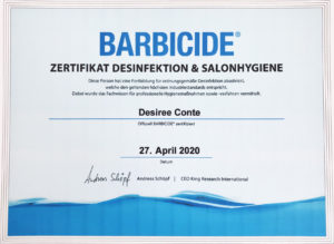 BARBICIDE Zertifikat
